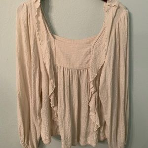 Free People Square Neck Cream Shirt with Ruffles